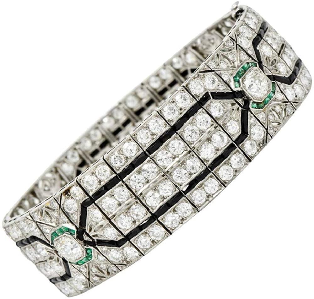 18.23 ct Four Row Style Multi Colour Round & Princess Cut Tennis Bracelet 14k Women's White Gold Plated