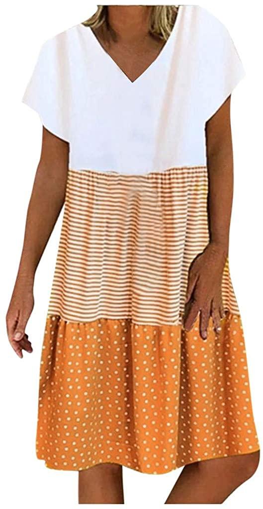KESEELY Fashion Women Casual Loose Stripe Dot Patchwork V-Neck Short Sleeves Dress