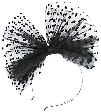 QAES Headwear Gothic Women Big Bowknot Fascinator Lace Polka Dots Headband for Clothing Accessories,Children's Party, Party Gifts,Halloween Party Decoration