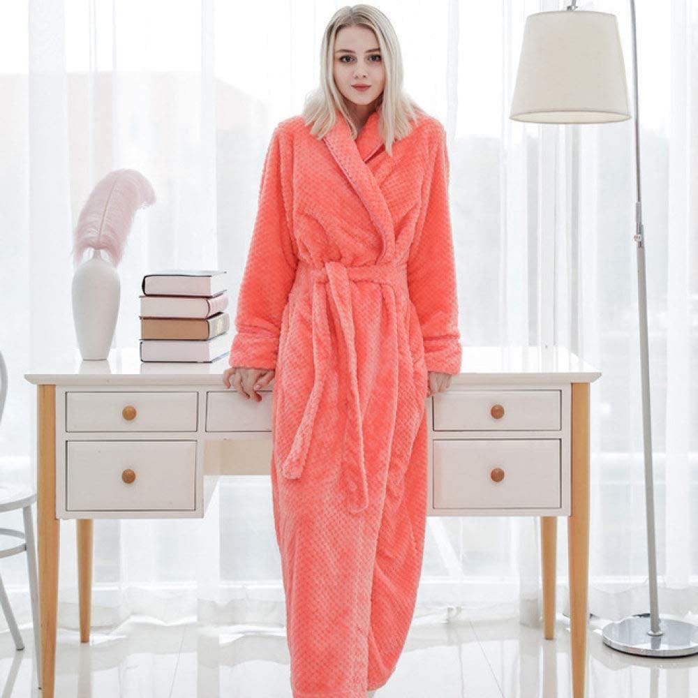 llwannr Bathrobe Robe Nightgown Sleep,Women Winter Bathroom Flannel Bath Robe Warm Thick Coral Bathrobe Pajamas Body Spa Gown,Orange,XL