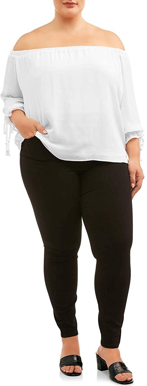 Terra & Sky Black Rinse Denim Plus Size Knit Pull On Jean