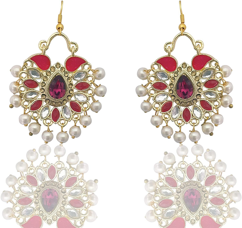 Moonstruck Traditional Indian Chandbali Kundan Hoop Earrings With Pearls for Women (Pink)