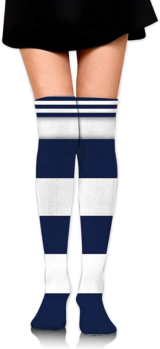 Dress Socks Navy Blue White Nautical Stripes Long Knee Hose Soccer Stockings