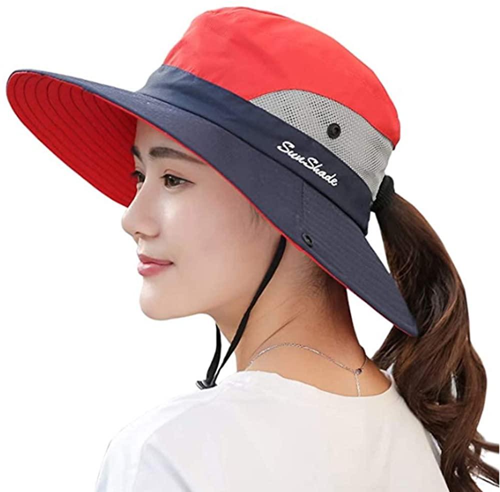 TIANDAO TDLZ LIZONG HYANUP Ponytail Women's Outdoor UV Protection Foldable Mesh Wide Brim Beach Fishing Hat