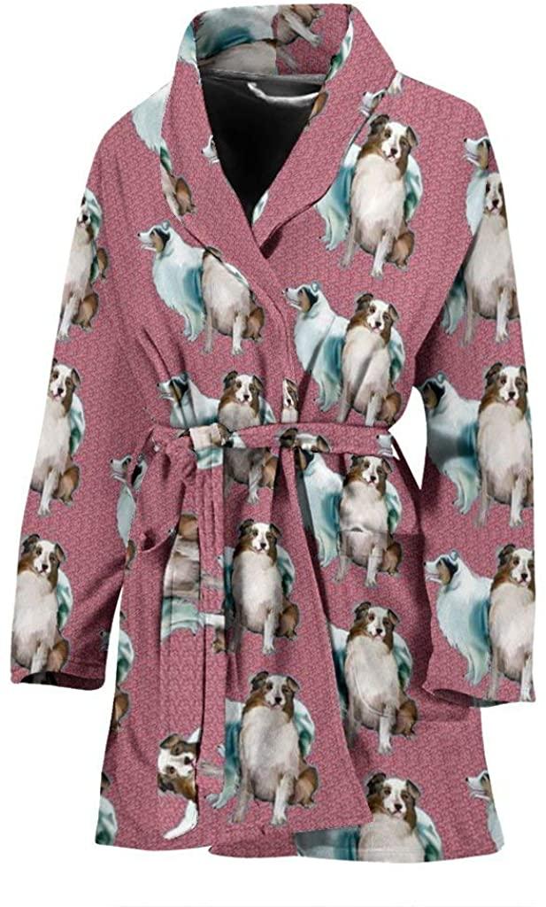 Australian Shepherd Dog Pattern Print Women's Bath Robe