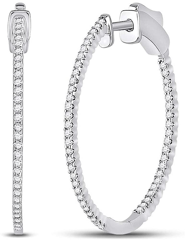 Dazzlingrock Collection 14kt White Gold Womens Round Diamond Inside-Outside Hoop Earrings 1/2 Cttw