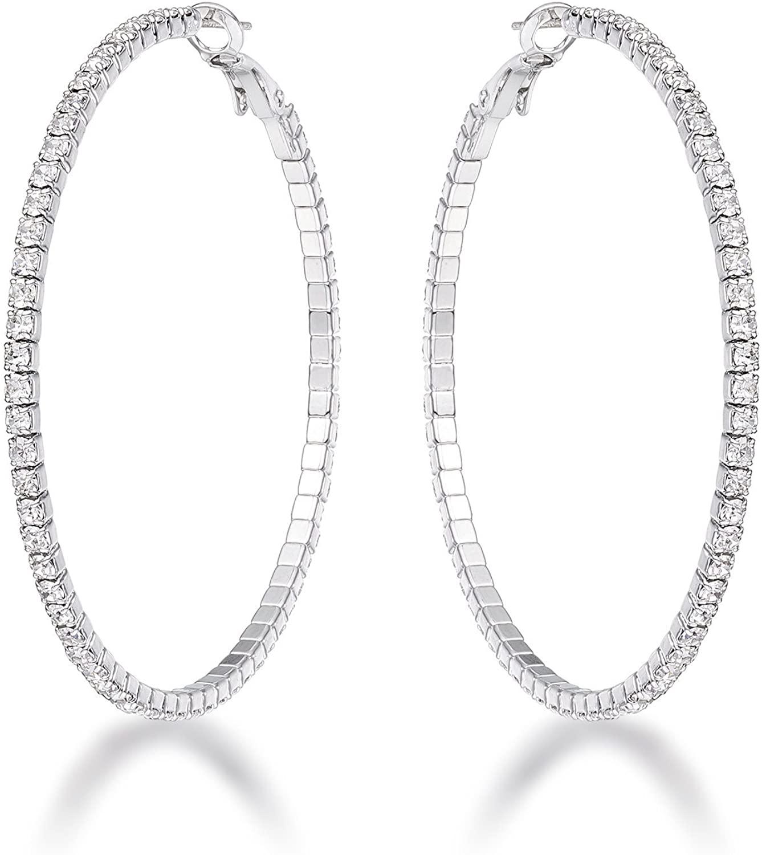 VintFlea 3.85Ct Silvertone Cup Chain Hoop Earrings