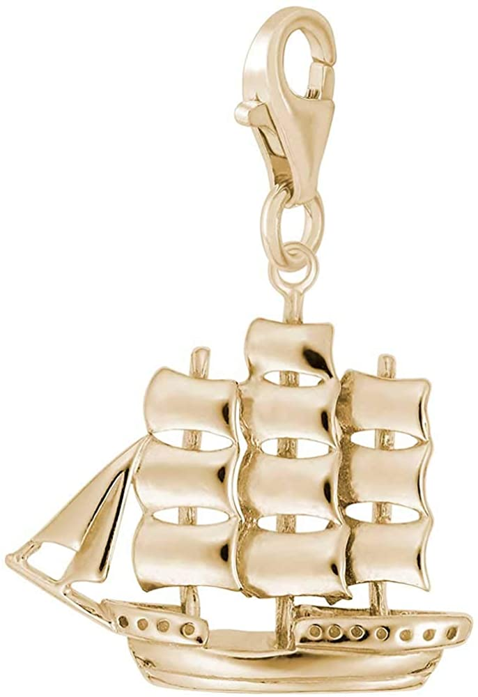 Rembrandt Charms Sailboat Charm with Lobster Clasp, 10K Yellow Gold