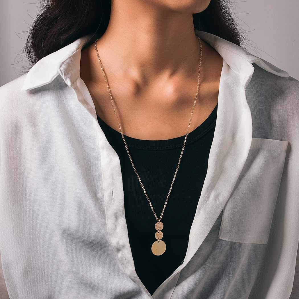 Aiyuan Boho Long Sweater Necklace Chain Jewelry Coin Tassels Pendant Necklaces Jewelry Disc Sequins Y Chain Necklace for Women and Girls