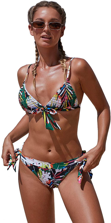 CCGKX Women's Swimsuit Bohemian Print Knot Bikini Swimsuit