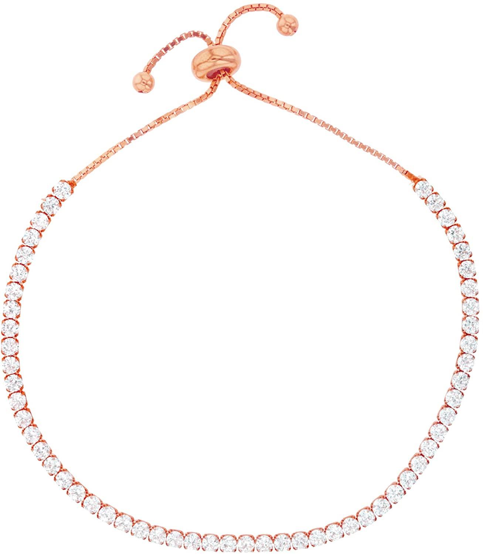 Sterling Silver Rose 2.5mm Clear Round Adjustable Tennis Bracelet