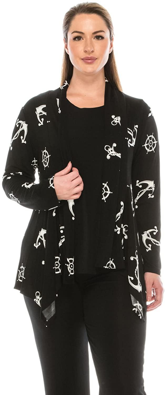 Jostar Women's Stretchy Print Mid Cut Jacket Long Sleeve Print Plus 2XL White Attractions