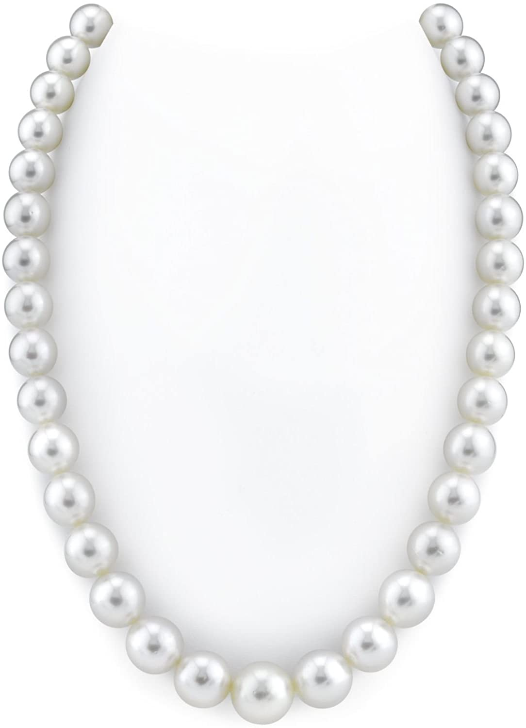 THE PEARL SOURCE 14K Gold 10-12mm AAAA Quality Round Genuine White South Sea Cultured Pearl Necklace in 20