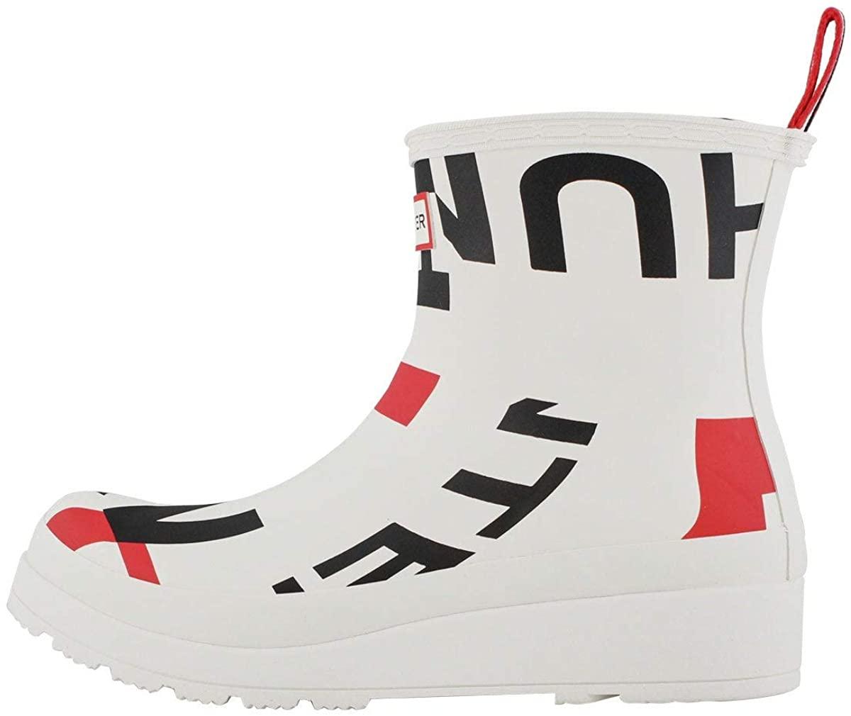 HUNTER Boot Women's White Exploded Logo Short Rain Boot White