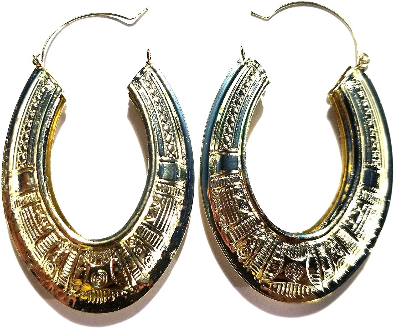 Oval Hoop Earrings Gold Tone Bohemian Egyptian Hoop Earrings