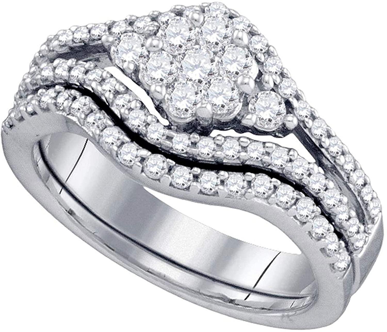 Dazzlingrock Collection 0.75 Carat (Ctw) Diamond Flower Cluster Bridal Wedding Ring Set 3/4 Ctw, 10k White Gold