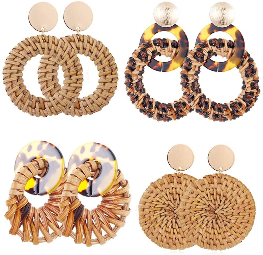 SOOWOOT Rattan Dangle Earrings for Women Girls Boho Woven Straw Wicker Braid Earrings Handmade Geometric Lightweight Drop Statement Earrings Set