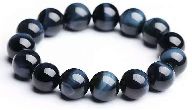 14mm Natural Blue Tiger Eye Bracelet Hawk's Eye Gemstone Round Stretch Crystal Bead Bracelet