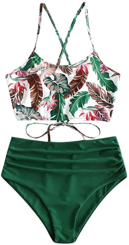 FiMi Women Tube Top Straps Bikini Push Up Two Piece Swimsuit Printed High Waisted Split Bikini Set