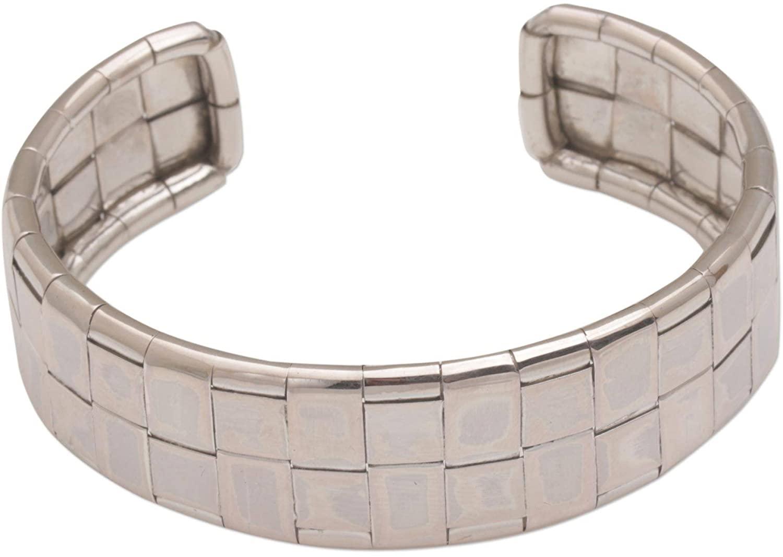 NOVICA .925 Sterling Silver Cuff Bracelet 'Gleaming Weave'