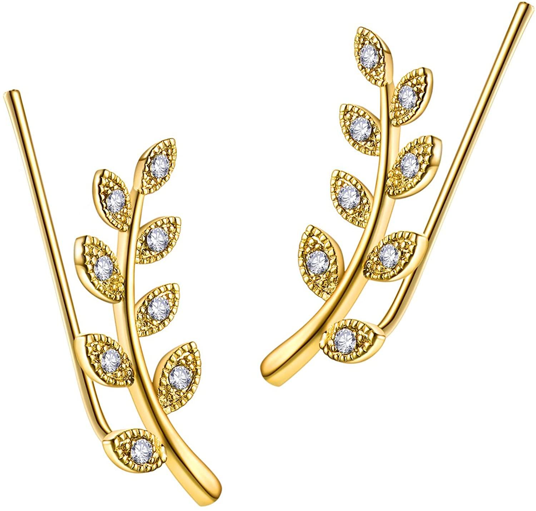 YOU WANG Womens Girls Ear Crawler Climber Leaf Crystal Ear Wrap Cuffs Earrings Sweep Stud Earring Pin