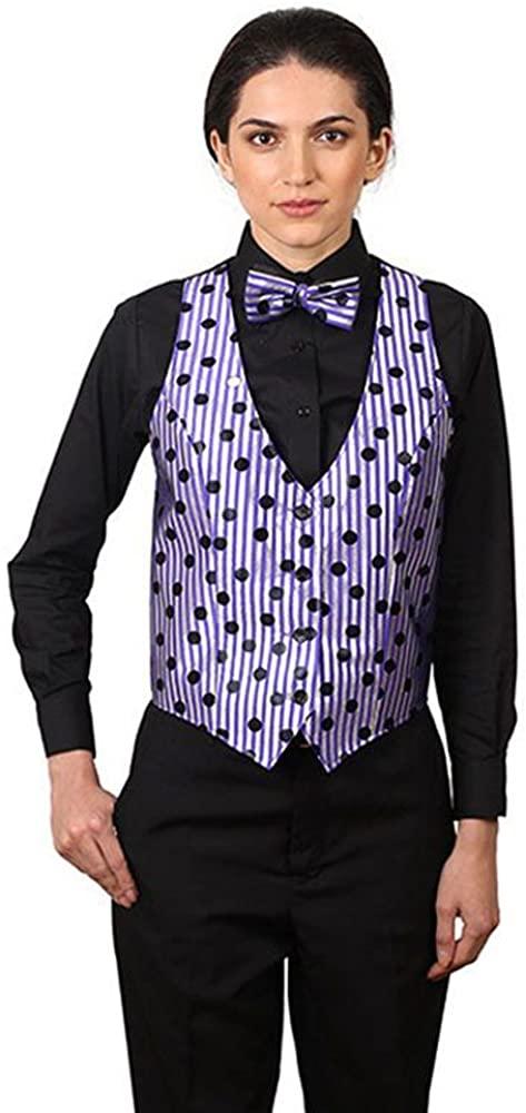 Women's Purple Strip with Black Dots Pattern Vest