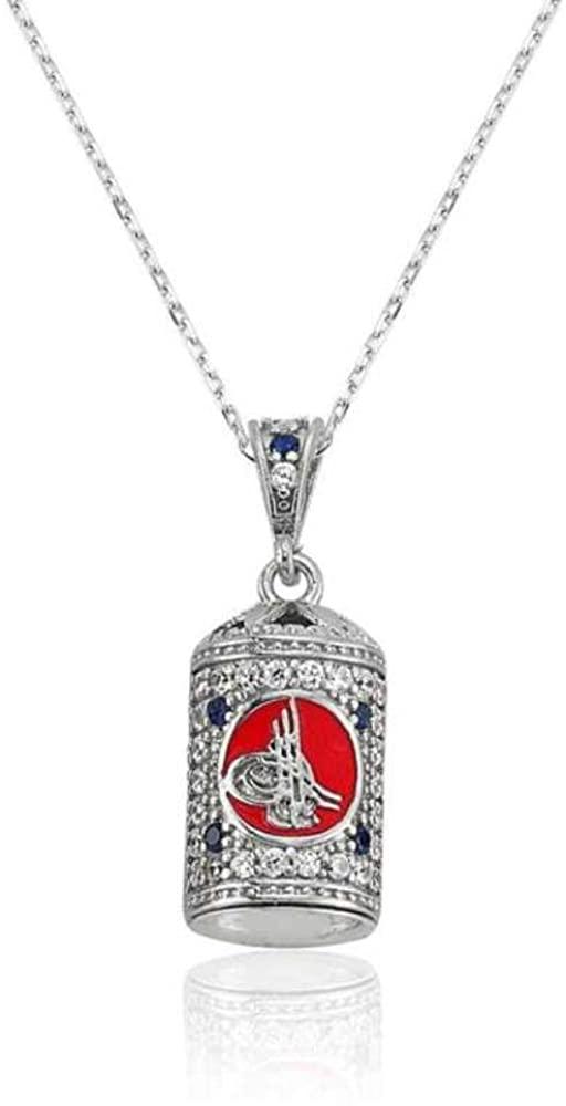 KOKANA 3D Silver Ottoman Necklace for Women and Girl