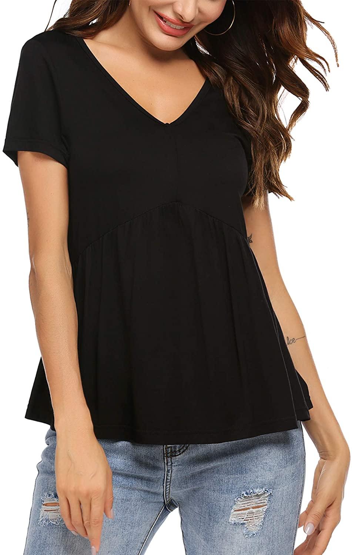 Hotouch Peplum Tops Women's Short Sleeve Flare Tunic Shirts Casual Ruffle Hem Babydoll Peplum Tops