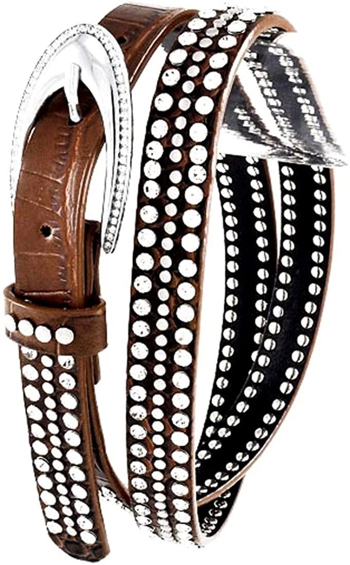 Brown Pointy Rhinestone Studded Leather Belt, S/M