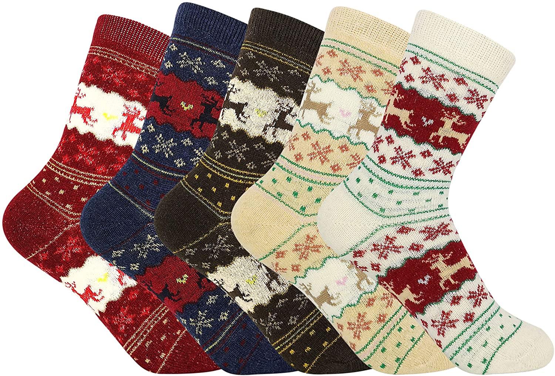 Women's 5 Pack Merino Wool Socks Knit Winter Keep Warm Casual Crew Socks,Holiday Gifts for Ladies