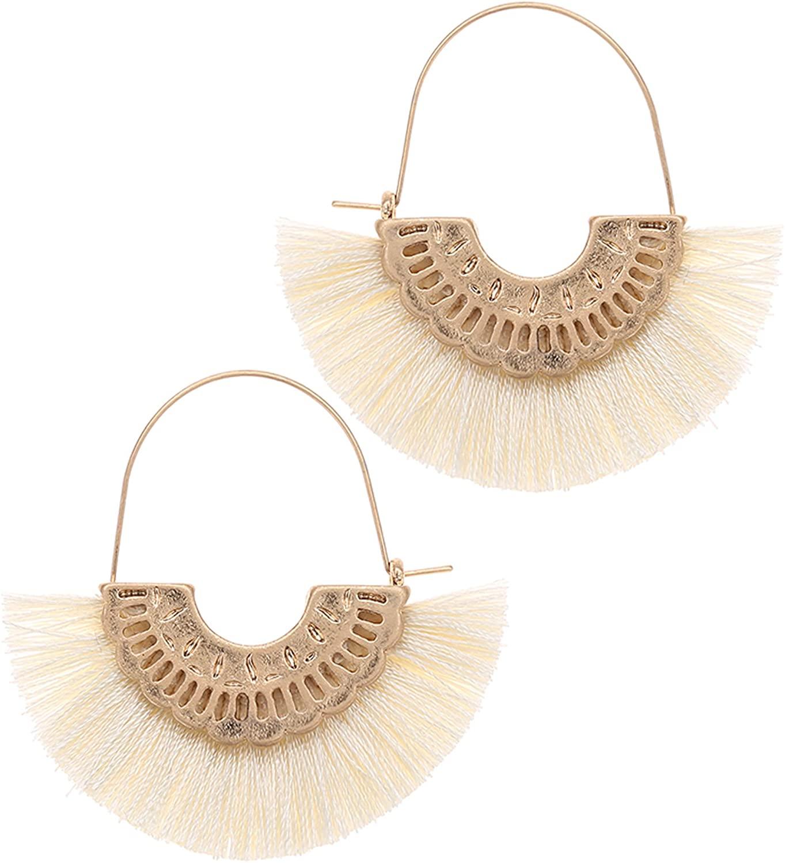 MIRMARU Bohemian Half Circle Silky Thread Fringes Dangle Drop Earrings - Fan Shape Tassel with Scallop Gold Tone Metal Detailed Hoop Earring for Women