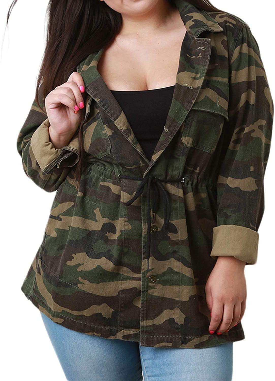 KISSMILK Women Camo Jacket Casual Plus Size Lightweight Long Sleeve Outwear Camouflage Coat