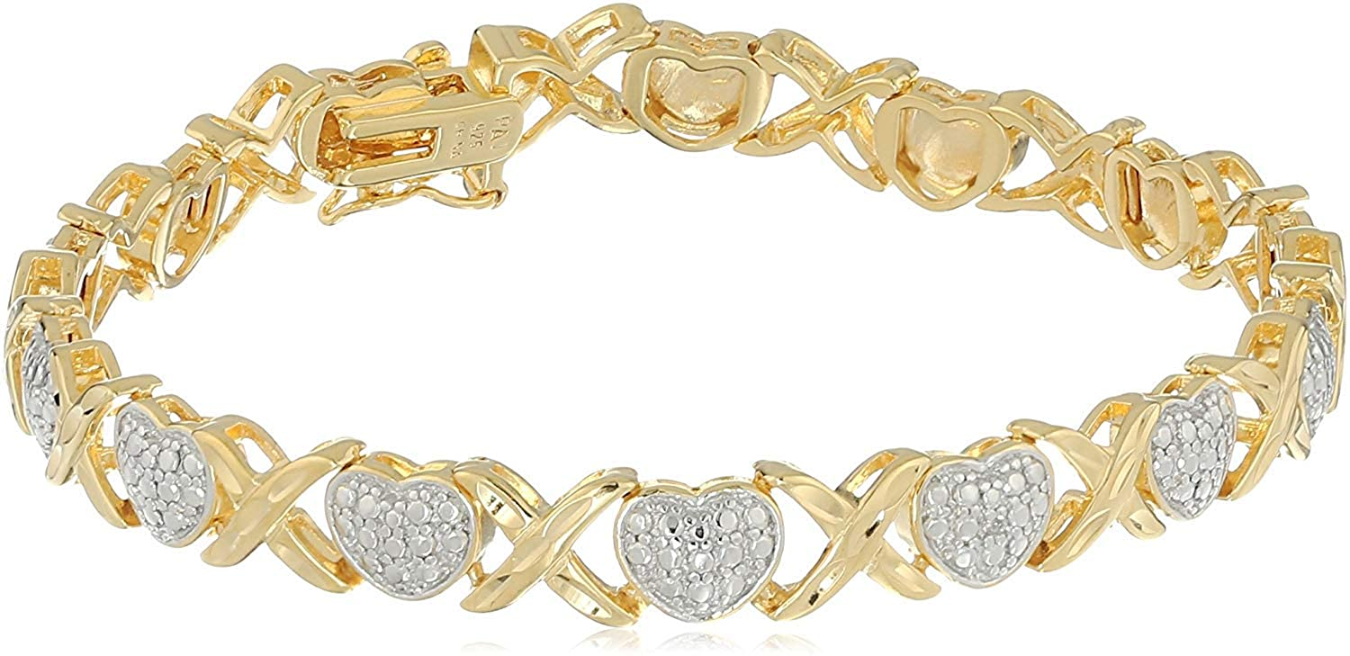 18K Yellow Gold-Plated .925 Sterling Silver Two-Tone Diamond Accent and Illusion XO Heart Bracelet, 7-1/4