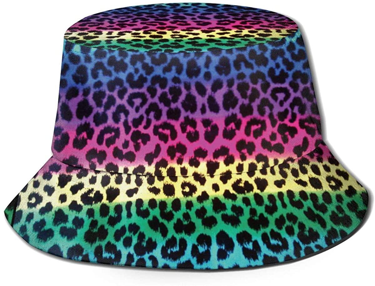 Tlsgcks Colorful Cheetah Leopard Unisex Printing Bucket Hat Pattern Fisherman Hats Summer Reversible Packable Cap Women Men Girl Boy