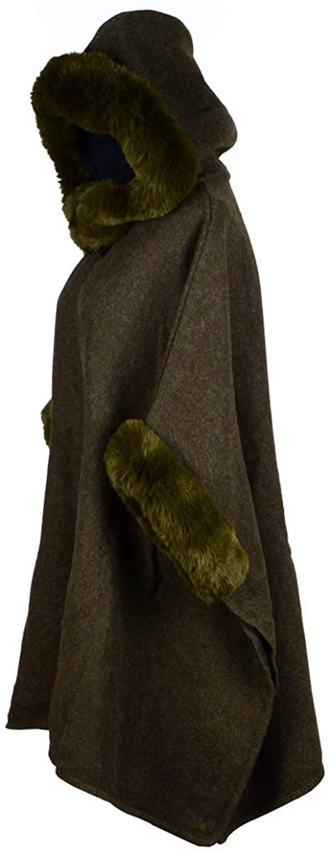 Iristide Women's Hooded Cloak Faux Rabbit Fur Cape Wrap Wool Coat Cardigan Poncho Warm