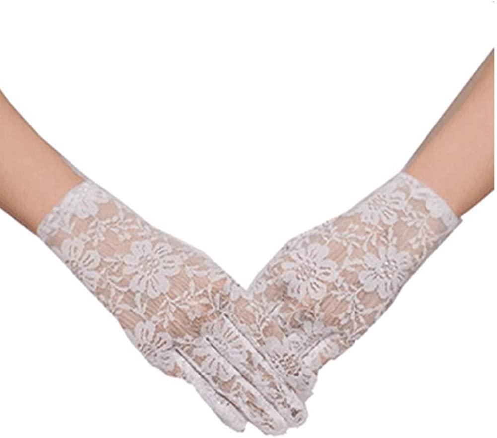 Emmani Women's Lace Short Bride Gloves Wrist Long Ball Gloves (White)