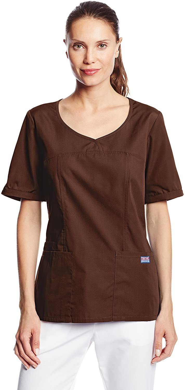 CHEROKEE Women's Workwear Scrubs V-Neck Top, Chocolate, XX-Large