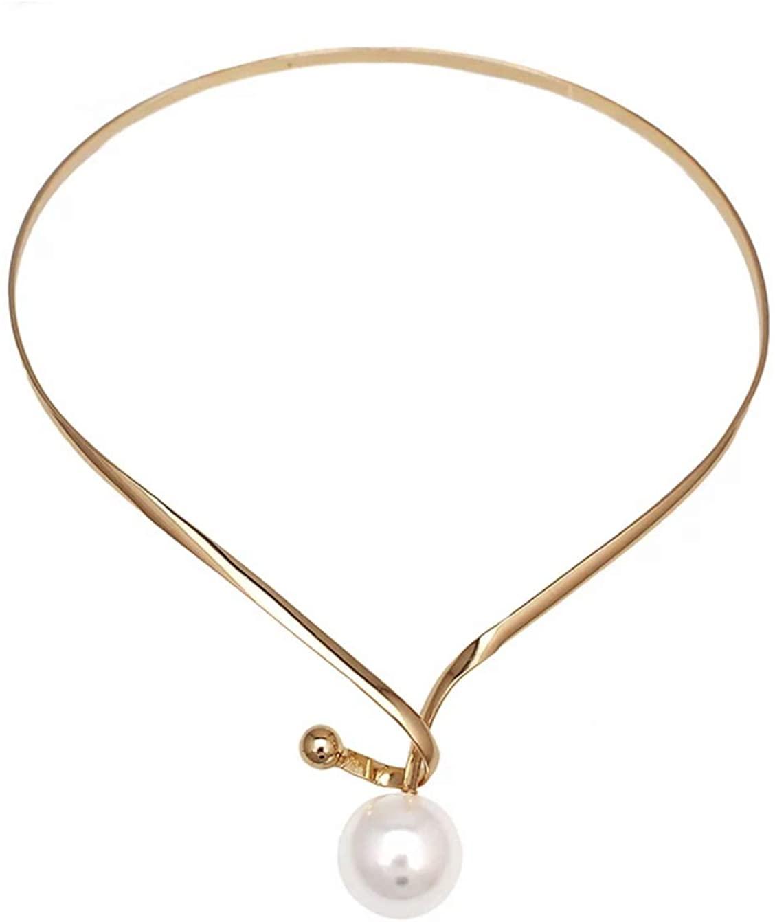 Nataliya Gold Torques Simulated Pearl Long Pendants Collar Choker Statement Necklace