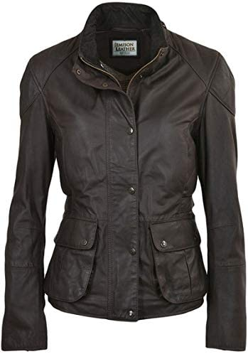 Jemison Leather Lambskin Dark Brown Women Jacket