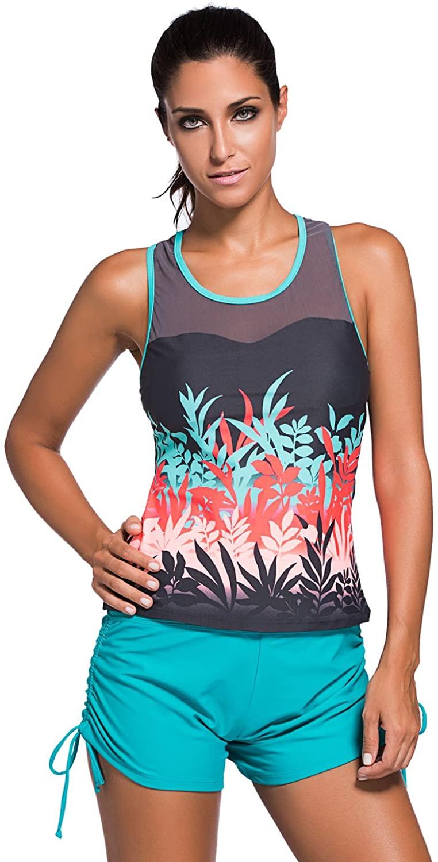 Women's Stripe Print Mesh Splice Sports leisure Tankini Top swimsuit (M(8-10), Colored Botanic)