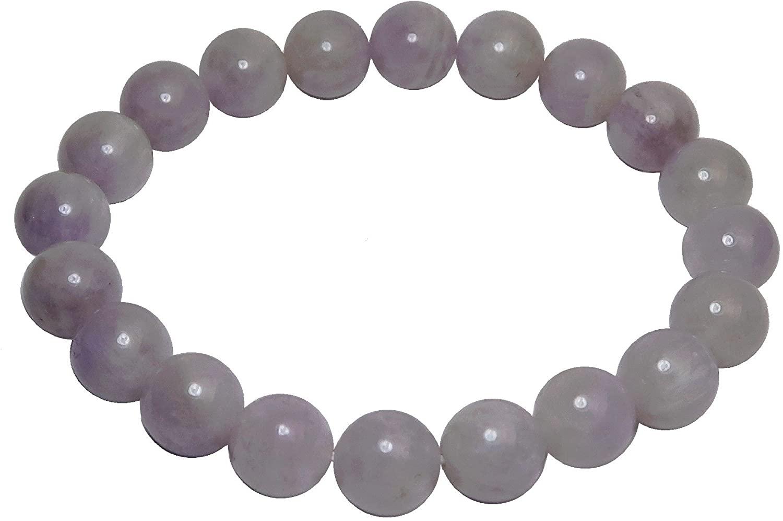 SatinCrystals Amethyst Lavender Bracelet 9mm Boutique Rosy Purple Genuine Gemstone Round Handmade Stretch B02
