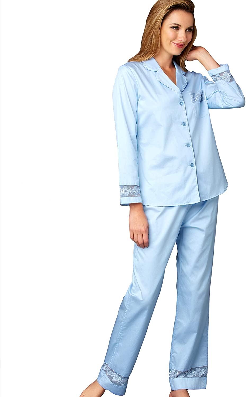 Julianna Rae Women's Pajama, 100% Cotton Sateen, Lace Trim, My New Favorite Collection, Sleepwear, Lingerie