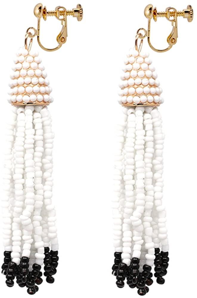 Beaded Tassel Clip On Earrings Bohemian Black & White Long Fringe Deco Dangle Drop Stylish Club Gift