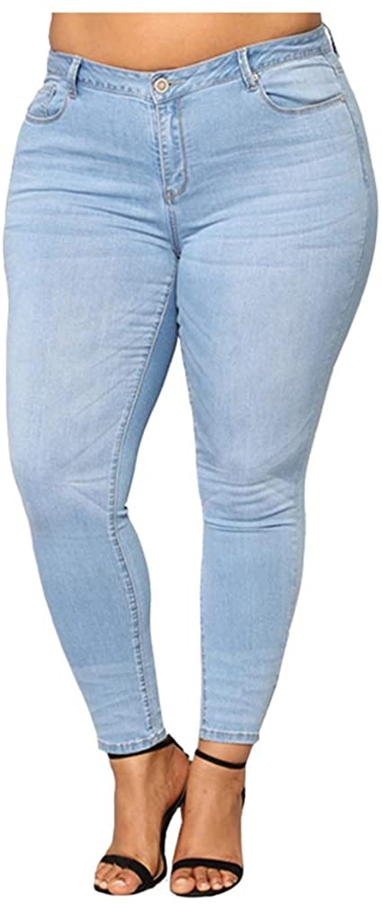 SCOFEEL Women's Stretch Skinny Jeans Slim Fit Pull-on Denim Pants Plus Size