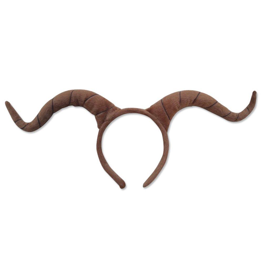 Pagreberya Ram Horns Headband - Cosplay Horns - Costume horns - Goat Horns - Antelope Horns - Brown