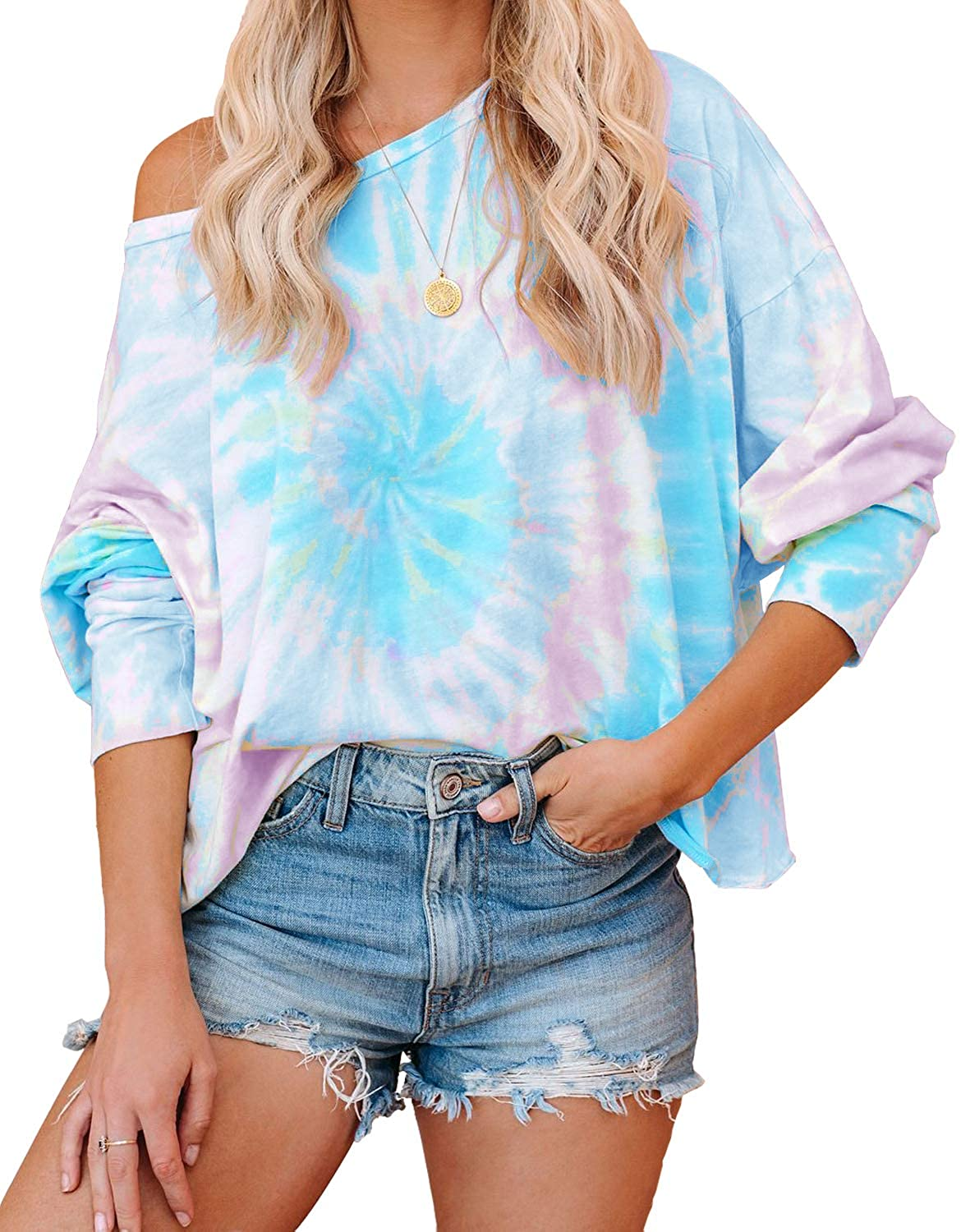 ReachMe Womens Off Shoulder Tie Dye Printed Shirt Loose Contrast Color Pullover Loungewear