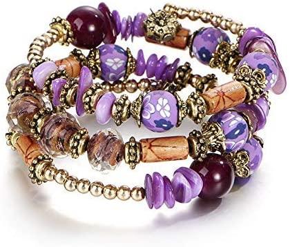 BXZ Stone Bracelet,Purple Floral Bracelet Woman Boho Multilayer Beads Charm Bracelets for Women Vintage Resin Stone Bracelets & Banglesethnic Jewelry Men and Women Attend Parties, Weddings