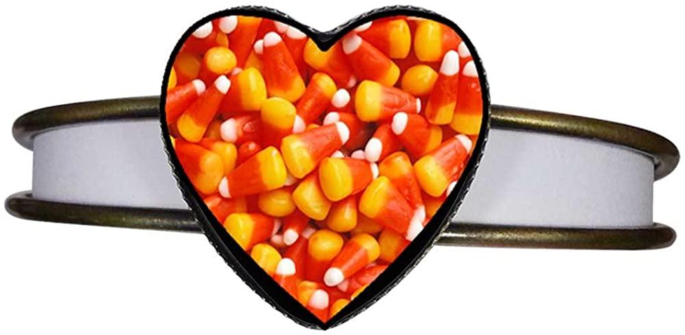 GiftJewelryShop Bronze Retro Style Halloween Candy Corn Heart Cuff Bangle Bracelet Fashion Jewelry