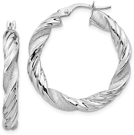 14k White Gold Polished and Satin Twisted Hoop Earrings