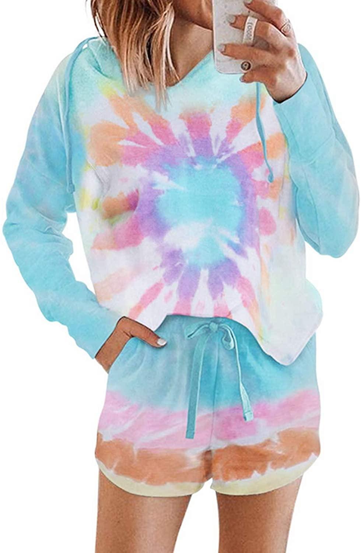 AROGONE Womens Tie Dye Print Pajamas Sets Soft Cotton Lounge Shirt with Shorts Loungewear